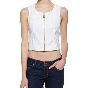 7 For All Mankind Front-Zip Denim Tank - White